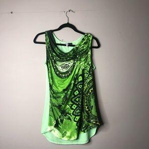 Desigual green tank top blouse xl